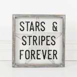 10x10x1.5 wood frmd sign (STARS) wh/bk/gy