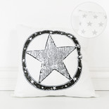 16x16x4 canvas pillow (STAR) wh/bk/gy