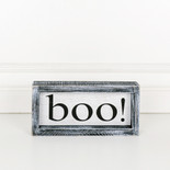"8.5x4x1.5 wd frmd sign (BOO"") wh/bk"