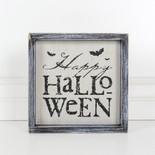 8.5x8.5x1.5 wood frmd sign (HPY HLWN) wh/bk