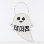9.5x10x.5 hanging wood ghost (BOO) wh/bk/gy