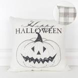 16x16x4 canvas pillow (HPY HLWN) wh/bk