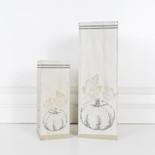 8, 12x4x4 wood vase s/2 (PUMPKINS) wh/tn/gy