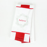 15x24 dish towel (BELIEVE) wh/rd
