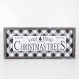 24x11x1.5 wd frmd sign (CHRSTMS TREES) wh/bk
