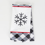 15x24 dish towel (SNWFLAKE) wh/bk/rd