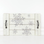20x12x.75 wood tray (SNOWFLAKES) wh/gy