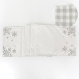 14x74 dbl sd canvas table runner (SNOWFLAKES) wh/gy