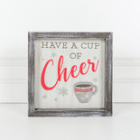 7x7x1.5 wood frmd sign (CHEER) multi