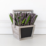 "6.5"" x 7.5"" x 6.5 wood pot (LAVENDER) white/black/purple (Indoor Use Only)"