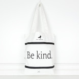 13x14x3 canvas tote (BE KND) bk/wh