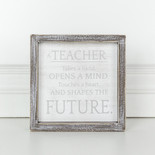 7x7x1.5 wd frmd sign (TCHR FTR) wh/gy
