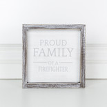 7x7x1.5 wd frmd sign (FIREFIGHTER) wh/gy