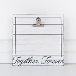 10x10x.5 wood photo holder w/clip (TGTHR FRVR) bk/wh
