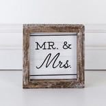 5x5x1.5 wood frmd sign (MR MRS) wh/bk