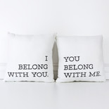 14x14x4 canvas pillow s/2 (BELONG) wh/bk