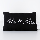 20x12x4 canvas pillow (MR MRS) bk/wh