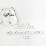 11x19.75x.25 bag 70 pcs 1.5x1.75x.25 (SCRIPT - LETTERS) wh/bk