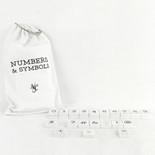 9x17.5x.25 bag 30 pcs 1.5x1.75x.25 (TYPEWRITER - NMB/SYM) wh/bk