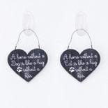 4.25x3.5x.25 hanging wood dbl-sd sign (HM DG/CT) bk/wh