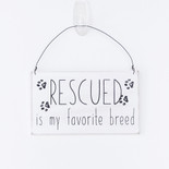 7x4x.25 hanging wood sign (RESCUED) wh/bk