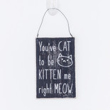 3.5x5.5x.25 hanging wood sign (MEOW) bk/wh