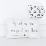 12x8x4 dbl sd canvas pillow (MY SPOT) wh/bk