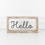 10x5x1.5 wood frmd sign (HELLO) cl/bk