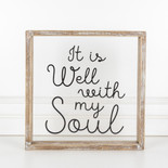 12x12x1.5 wood frmd sign (SOUL) cl/bk