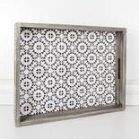 18x14x2.5 wood tray (MOSAIC) wh/bk