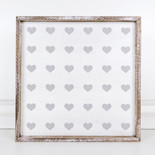 18x18x1.5 wood frmd sign (HEARTS) wh/gy