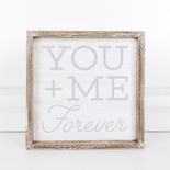 10x10x1.5 wood frmd sign (YU ME FRVR) wh/gy