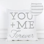16x16x4 canvas pillow (YU ME FRVR) wh/gy