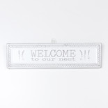 18.25x4.75x.5 metal embossed sign (WLCME NST) wh/gy