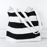 16.5x15.75x.2 canvas bag stripes bk/wh