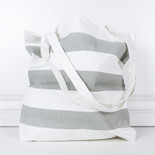 16.5x15.75x.2 canvas bag stripes gy/wh