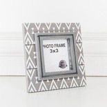 5.75x5.75x1 wood frame (DIAMOND) gy/wh (3x3)