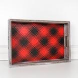 17x11.5x3 wd frmd tray (PLAID) rd/bk