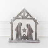 8.25x9x1.5 wd cutout (NATIVITY) wh/bn