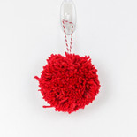 "4"" pom pom ornament red"