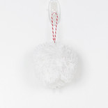 "4"" pom pom ornament white"
