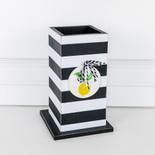 5x8.25x5 wd vase (STRPS) bk/wh/yl/gn