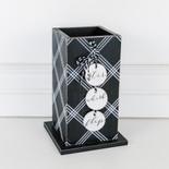 5x8.25x5 wd vase (STR WSK FLP) bk/wh