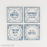 4x4x.25 coaster s/4 (COFFEE) wh/bl