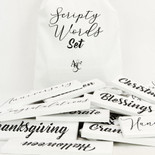 11.25x20x.25 bag 38 pcs 8x1.75x.25 (SCRIPTY WORDS) wh/bk