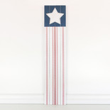 10x46x1 wood sign (FLAG) wh/bl/rd