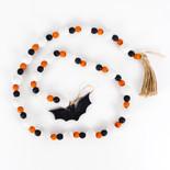 60x1 wd bead garland w/ tassels bk/wh/or