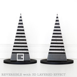 10x14.5x4 wd witch hat (STRIPES) bk/gy/wh
