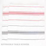 74x14 linen rvsbl tbl runner (STRIPES) wh/bk/rd
