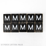 1.5x1.75x.25 wd letter tile s/10 (M) bk/wh